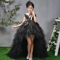 Белый, Черный Лебедь перо потрясающее причастие платье Бисероплетение Цветок девушки платья длинный шлейф дети принцесса платье День рожд