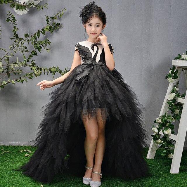 bcb483d90e9 White Black Swan Feather Stunning Holy Communion Dress Beading Flower Girl  Dresses Long Trailing Kids Princess Dress Birthday K