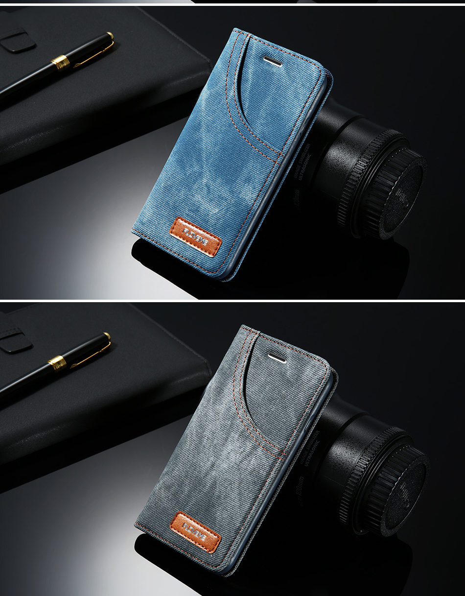 DOEES For iPhone 6 6S Plus Flip Phone Case Luxury Leather Card Slot Stand Holder Case For iPhone 7 7 Plus Denim Wallet Case Capa (12)