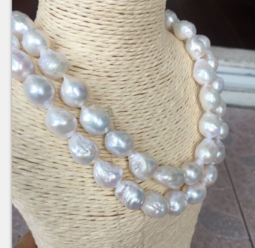 double strands 13-14mm freshwater white baroque pearl necklace 1819double strands 13-14mm freshwater white baroque pearl necklace 1819