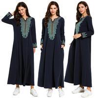 Women Spring Maxi Dress Long Sleeve Embroidery Ethnic Muslim Abaya Dubai Kaftan Islamic Arabic Ramadan Robe Fashion Dubai Gown