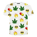 Latest and Most Complete Emoji T Shirt WhatsApp WeChat Kawaii Angry Printed T-Shirt Weed Hemp Leaf Pills Tee Shirt Women Men
