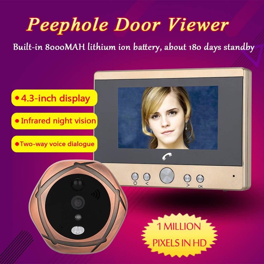 Build in 8000MAH batter 4 3 TFT Digital Intercom Peephole Door Viewer Camera PIR Motion Detection