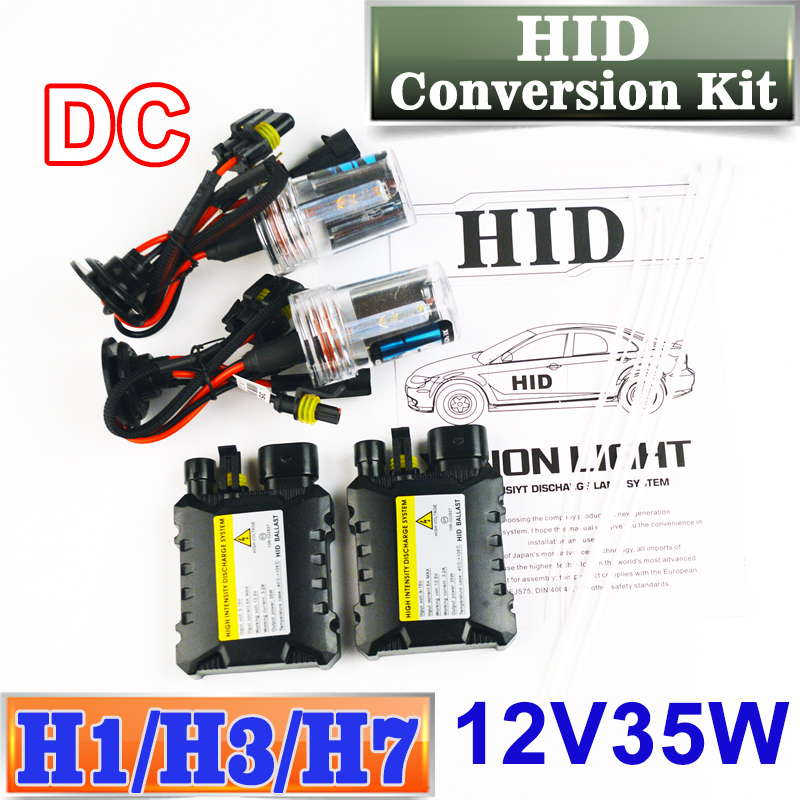 цена на Flytop XENON DC HID Conversion Kit 12V 35W H1 H3 H7 Lamp Slim Ballast Car Headlight Bulb 4300K 6000K 8000K 30000K FREE SHIPPING