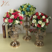 Metal Flower Vases Gold Crown Shape Vase Fashion Wedding Exquisite Table Flower Rack Christmas Party Home Decoration