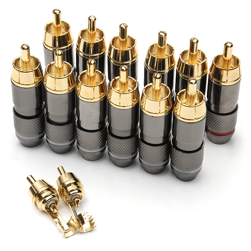 12PCS Double Self Locking Banana Plugs Set Gold Plated Copper Female Connectors Amplifier Audio Speaker Cable Wire Adapters hot 4pcs copper gold plated tuning fork banana y spade plug adapter av audio terminals connectors for speaker cable power