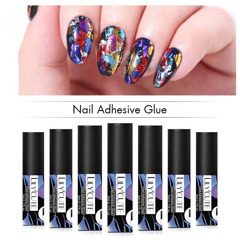 LILYCUTE 5ml Nail Adhesive Glue For Foil Transfer Sticker Nail Glue Soak Off UV Gel Polish Nail Art Accessories Tools