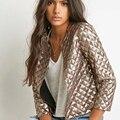 2016 Новые моды для Женщин весной и осенью Золото Блестки Куртки рукав Пальто горячая продажа