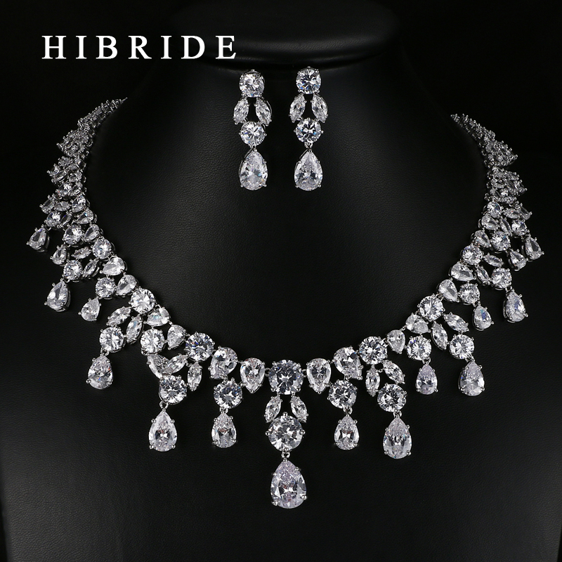 HIBRIDE Luxury Top Quality White /Green Water Drop Shape Cubic Zirconia Jewelry Sets ,White Gold Color Necklace Earrings N-057 hibride luxury top quality white green water drop shape cubic zirconia jewelry sets white gold color necklace earrings n 057