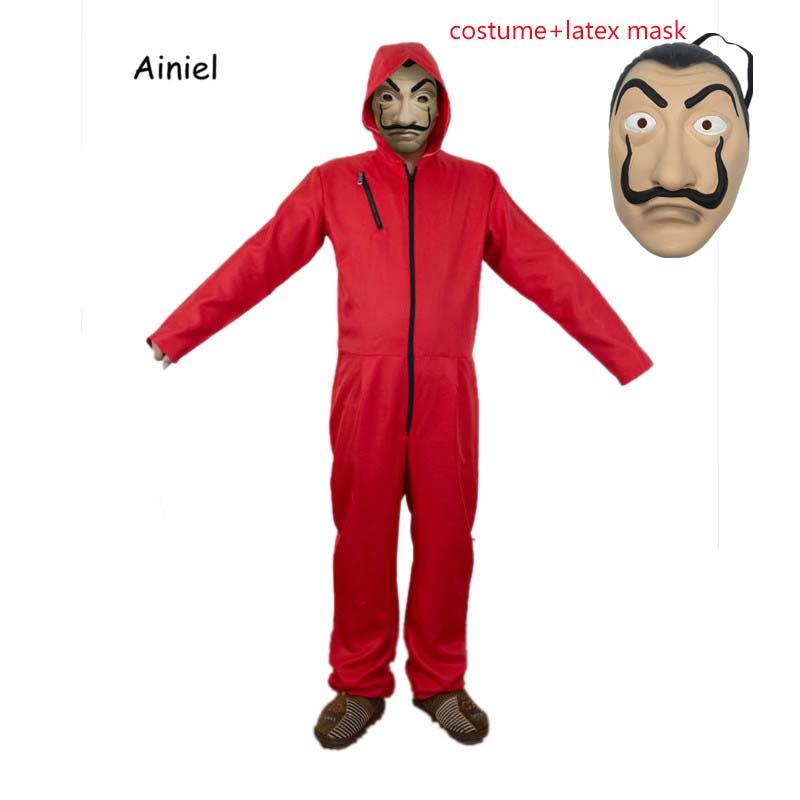 Ainiel  Kids Adult Salvador Dali  Cosplay Costume La Casa De Papel Face Fancy Party Halloween Costume For Adult Women and Men