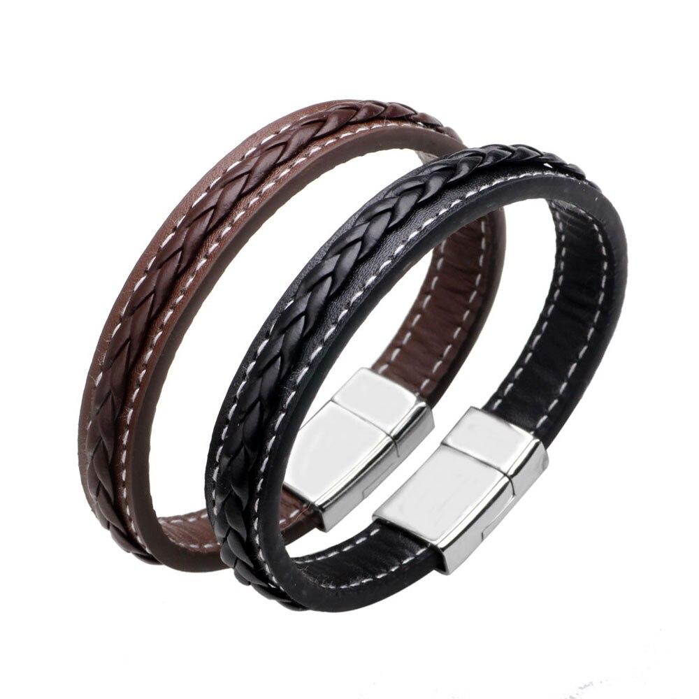 Kirykle Brown Black Genuine Braided Leather Wrap Bracelet Men Male Stainless Steel Magnet Bracelets women man charm jewelry