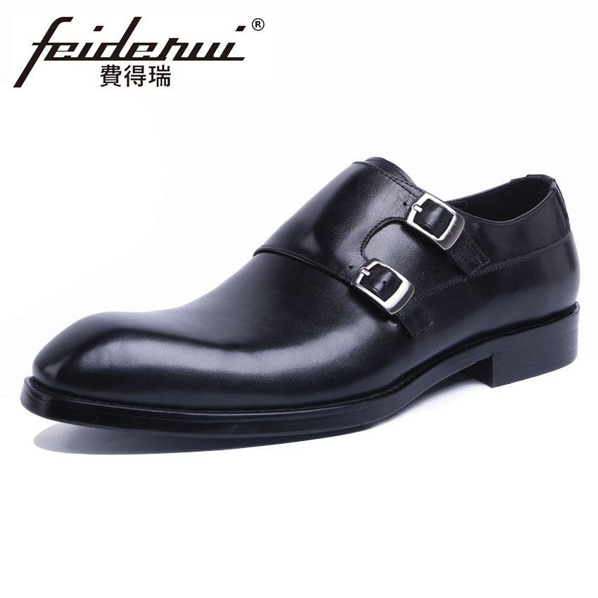 2018 New Vintage Men's Formal Dress Handmade Monk Strap Footwear Genuine Leather Cow Round Toe Man Wedding Party Shoes YMX525 luxury snake pattern patent leather men s monk strap formal dress footwear round toe handmade male casual shoes for man ymx411