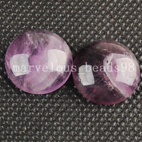 Free Shipping Fashion Jewelry 16mm Natural Purple Crystal Round Beads Cabochon CAB 2pcs C3295