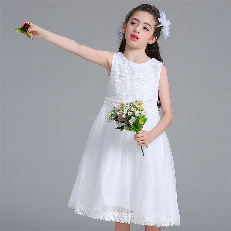 Pearl Pattern Kid Girls Wedding Dress Pageant Party Bridesmaid Ball Gown Prom Princess Formal Occassion Sleeveless Dress 4-10Y kids girls bridesmaid wedding toddler baby girl princess dress sleeveless sequin flower prom party ball gown formal party xd24 c