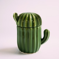 1pc S Size Europe Style Ceramic Cactus Storage Box Creative Jewelry Box Sugar Bowl Tea Bag