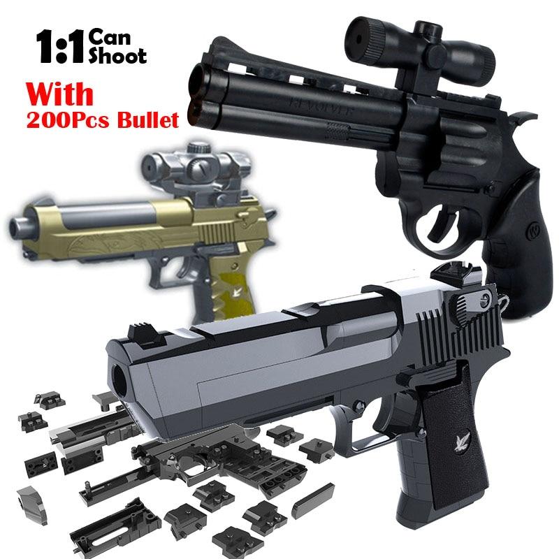 3Pcs Gun + 200Pcs Soft Bullet DIY Building Blocks Toys Desert Eagle Revolver Beretta Assembly Toy Puzzle Gun Model