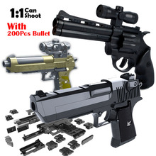 3 pcs Gun + 200 pcs DIY Blocos de Construção de Bala Mole Brinquedos Desert Eagle Revólver Beretta Montagem Puzzle Brinquedo Arma modelo