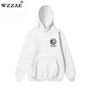 Image 5 - Wzzae japonês bordado engraçado gato onda impresso velo hoodies 2020 inverno japão estilo hip hop camisolas casuais streetwear