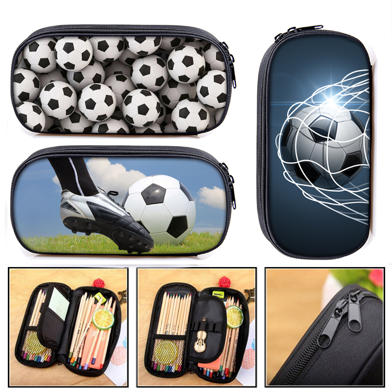 Soccerly / Footbally Print  Cosmetic Cases Pencil Bag Boys School Bags Kids Pencil Box Case Children Stationary Bags