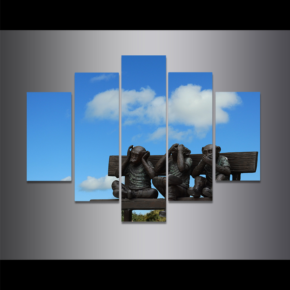 Unframed Canvas Painting Blue Sky Monkey On The Seat Sculpture Picture Prints Wall Picture For Living Room Wall Art Decoration