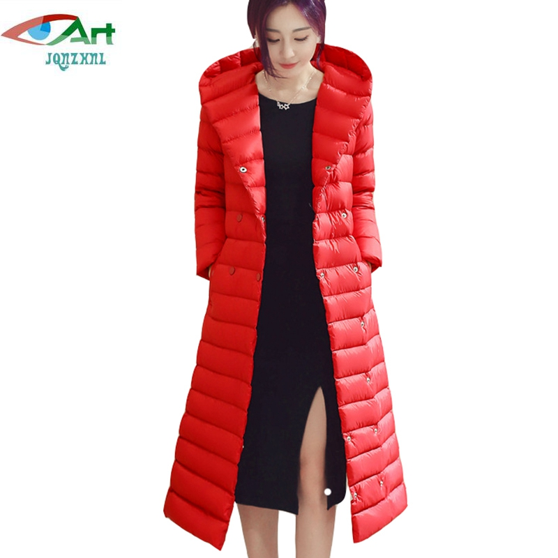 JQNZHNL 2017 New Winter Warm Down Cotton Coats Women Parkas Solid Color Long Sleeved Casual Hooded Cotton Jackets Outerwear E908