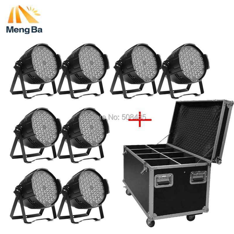 flight case with 8pcs/lot 54X3W led par DJ Par LED RGBW Wash Disco Light DMX Controller for home dj party bar wedding lighting 6pcs lot led par 84x3w rgbw light par64 rgb stage light decoration dmx wedding party bar lighting disco