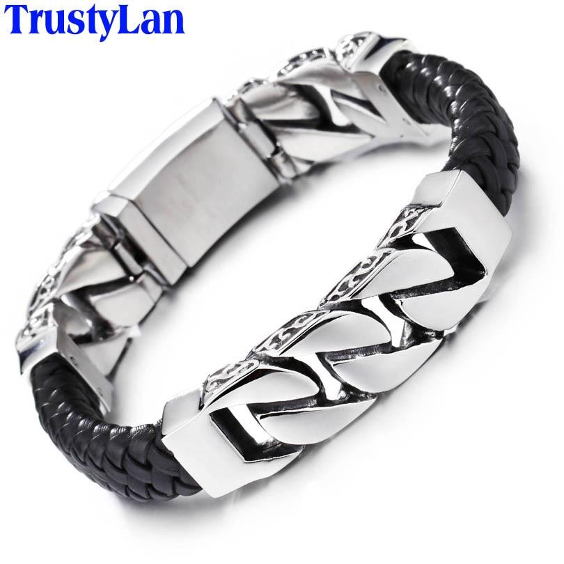 TrustyLan Hot Brand Mens Bracelets Weaved Leather Never Fade Stainless Steel Wrap Bracelet Men Fashion Jewelry Pulseras Hombre