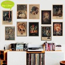 Póster de estrella de la Guerra de Las Galaxias vintage póster de película retro kraft pegatinas para la pared de papel Bar Café sala de estar