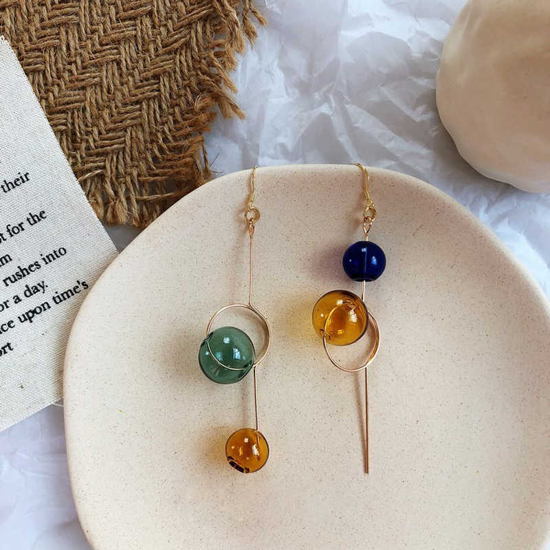 Cos Store Handmade Glass Ball Dangle Long Earrings For Women 2019 Original Colorful Asymmetric Bubble Korean Earrings Femme