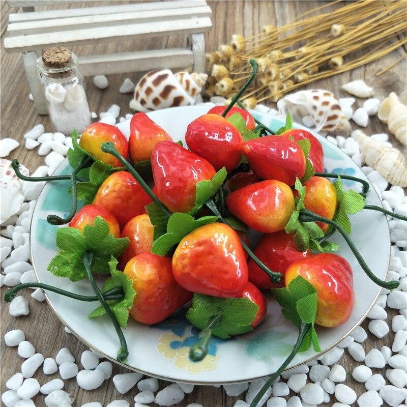 10pcs/lot 3cm Mini Artificial Fruit Foam Strawberry Fake Simulation Fruit Lifelike Home Wedding Party Garden For Decoration