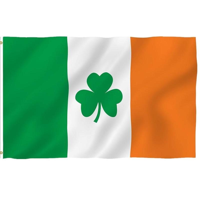 3x5ft Ireland Shamrock Flag Polyester Leaf Saint Patrick'