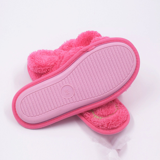 flat butterfly knot indoor solid furry slippers flip flops women platform faux plush winter fuzzy house home with fur s139