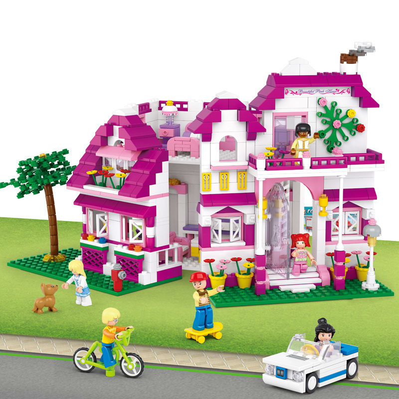 B0536 SLUBAN City Girl Friends Sunshine Ville Model Building Blocks Enlighten DIY Figure Toys For Children Compatible Legoe 1916 enlighten city water police station series plan breakout model building blocks figure toys for children compatible legoe