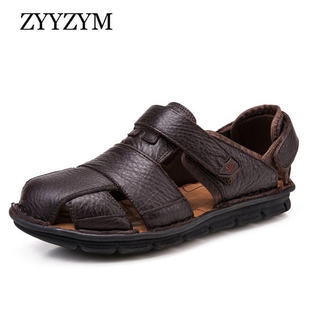 ZYYZYM Genuínos Homens Sandálias de Couro de Qualidade Superior Homens Sapatos De Luxo de Verão Moda Praia Sandalias Sapatos Fundo Macio Respirável