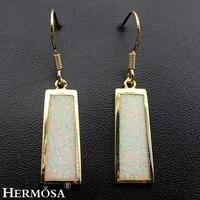 Blue White Fire Australian Opal Yellow Gold Womens Drop Earrings 42mm Dreamy Jewelry Earrings Free Shipping