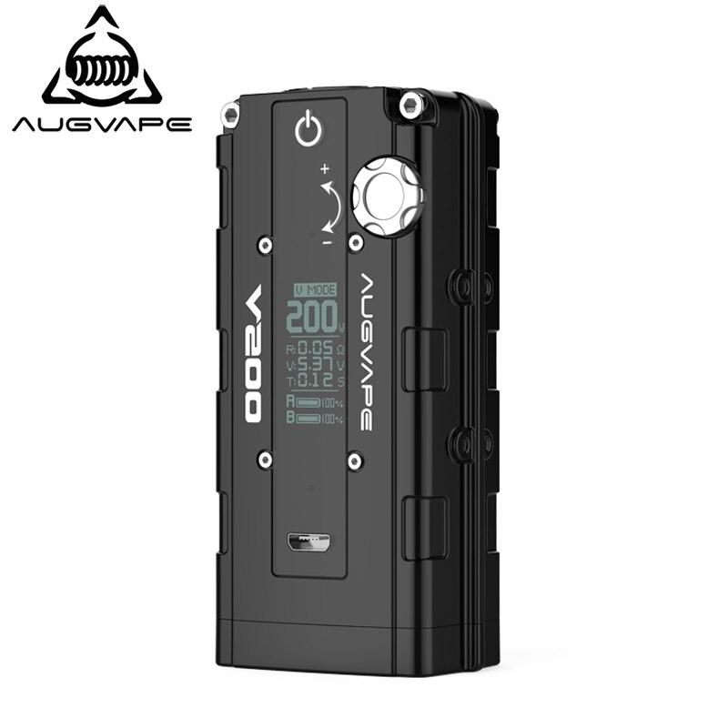 Augvape V200 boîte mod vaporisateur Bypass Automatique V Support du mode Double 18650 Batterie de Zinc alliage cigarette électronique mod RDA RTA RDTA