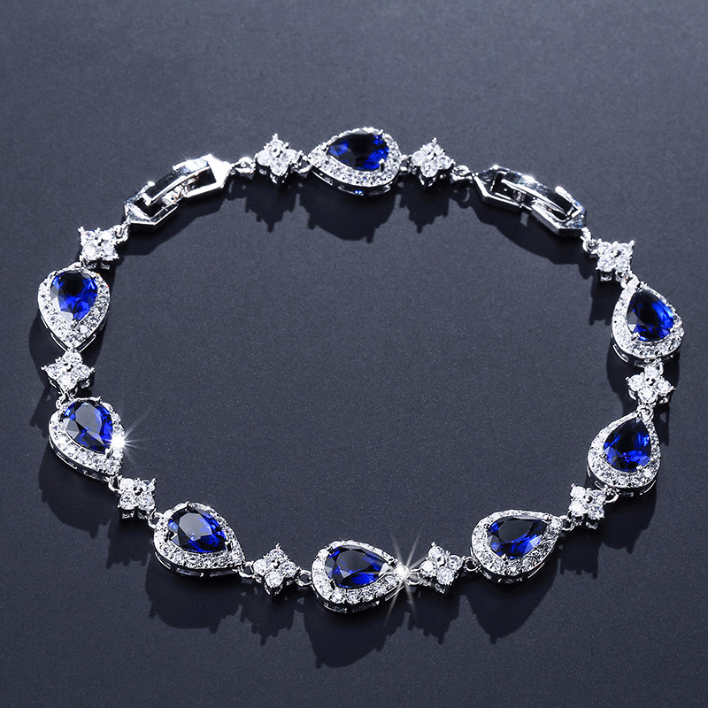 UILZ Heart Shaped Bracelet Bangle With Blue Cubic Zircon Birthday Gift UB2014