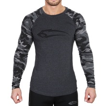 2017 Latest workout fitness men's long sleeve t-shirt men's thermal muscle bodybuilding compression wear tights exercise clothin