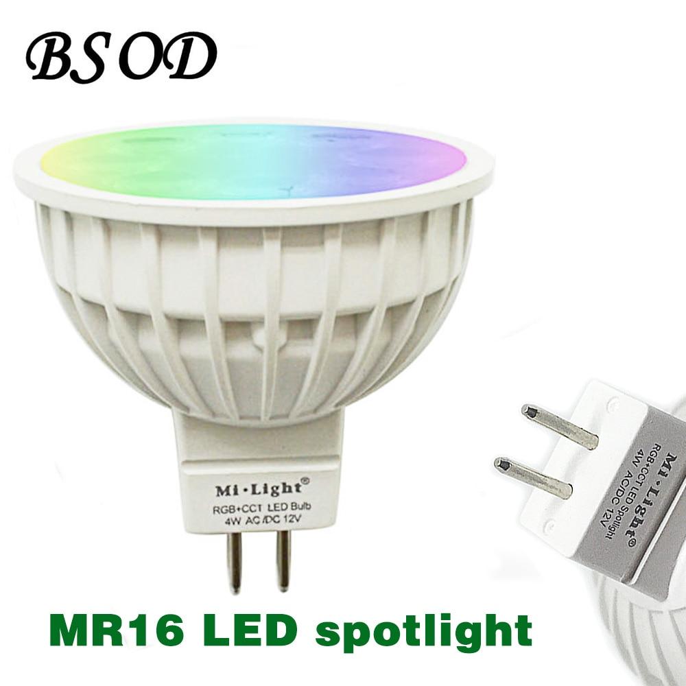 BOSD MR 16 LED Spotlight 4W Might Lamp Bulb AC/DC12V RGB CCT White Warm White FUT 104 2.4G Wireless  Indoor Decoration mr beams светильник mr beams spotlight led на батареях с сенсорами корпус белый