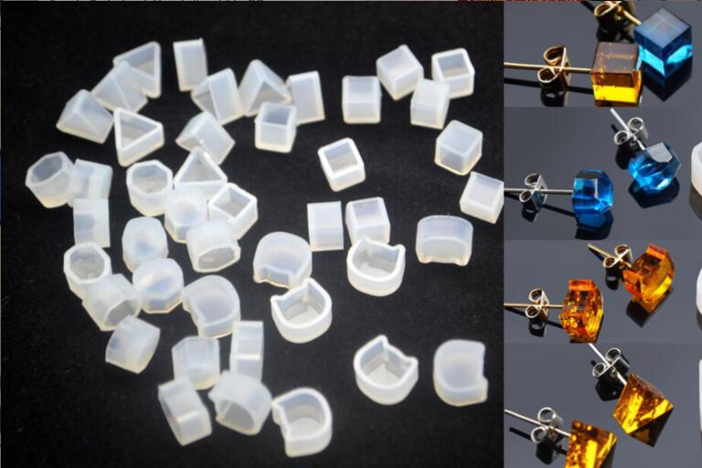 2pcs DIY DoreenBeads Cat Animal Mould Jewelry tools Silicone Resin Mold Square Triangle Hexagon Mold White For Stud Earrings