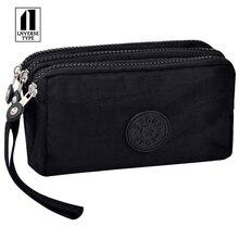 Купить с кэшбэком 3 Zippers Lady Purses Women Wallets Brand Clutch Coin Purse Cards Keys Money Bags Woman Girl Wallet Portable Make Up Bag handbag
