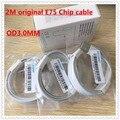 10 pçs/lote 2 M 6ft 100% Genuína Chip de Original De fábrica E75 OD: 3.0mm Cabo de dados USB Para 7 6 5 5S 6 s plus Com embalagem