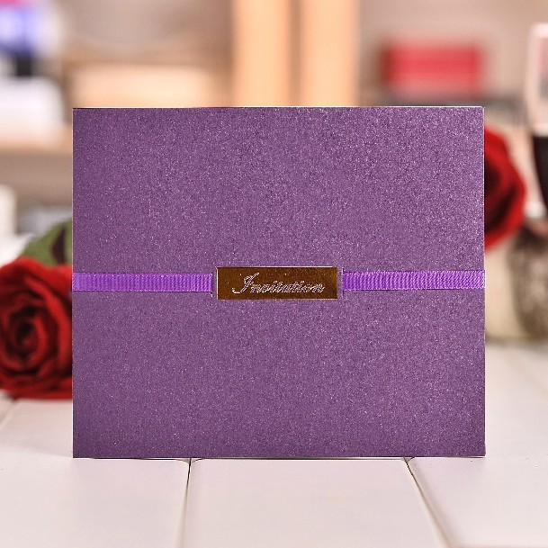 Wedding Invitations Business: High Class Purple Wedding Invitation Cards With Ribbon