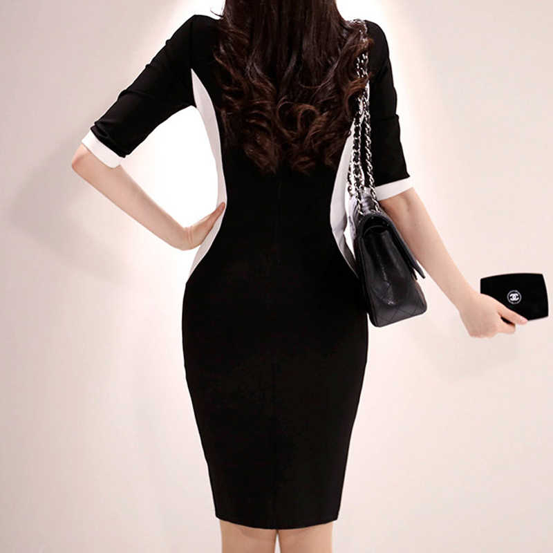 H Han Queen noir blanc contraste couleur gaine robe femmes 2019 nouveau OL Slim moulante robes d'affaires genou-longueur crayon Vestidos