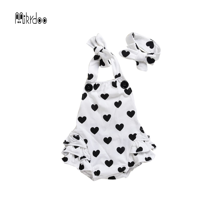 Baby girl clothes sleeveless strap romper kids jumpsuit infant outfit cotton suit heart dot clothing set children costume sale newborn baby backless floral jumpsuit infant girls romper sleeveless outfit