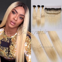 Guanyuhair Remy 1B/613 Ombre Peruvian Straight Hair Bundles With 13X4 Lace Frontal 2 Tone Black Blonde Human Hair Weft With Dar