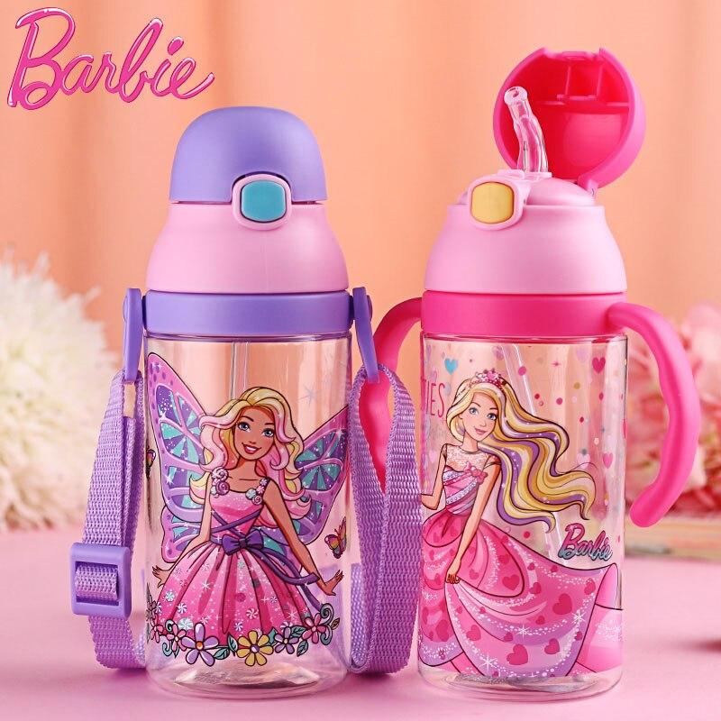 Barbie SB60256 500ml Plastic Straw Kettle Princess Cartoon Kid Bottle Double Way Drink Water Bottle BPA