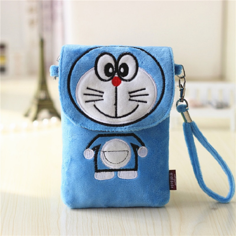 Cartoon baymax/hello kitty pokonyan prints plush coin purse small pouch mini messenger crossbody bags bolsa for girls double use