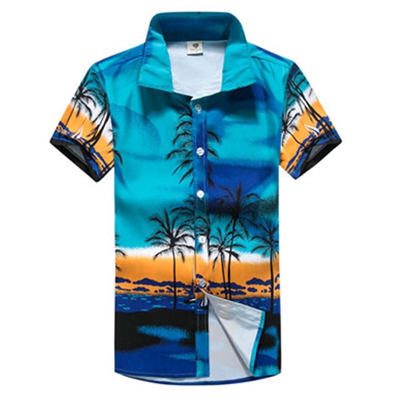 55ec023b Mens Hawaiian Style Shirts Short Sleeve Tropical Print Sport Shirt Slim Fit  Floral Blouse Men/Women Couple Brand Beach Clothing-in Surfing & Beach T- Shirts ...
