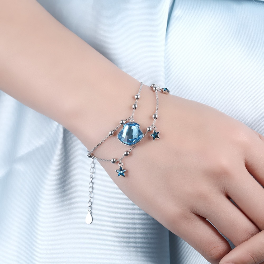 High Quality Explosion models 925 sterling silver star shell bracelet female Crystal from Austrian Summer Beach Fashion Jewelry